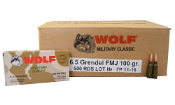Wolf Military Classic 6.5 Grendel 100 GR, Steel Cased, Non-Corrosive, FMJ Ammo - 500 Round Case