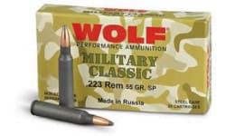 Wolf Military Classic .223 55 GR Soft Point Ammo - 500rd case