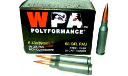 Wolf Performance Ammunition Caliber 5.45x39, 60 GR, FMJ Ammo, Non-Corrosive - 1000 Round  Case