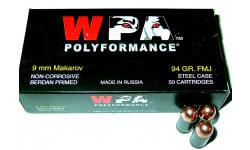Wolf Polyformance 9x18 Makarov 94 GR FMJ Ammo - 50rd Box