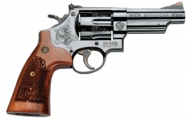 "Smith & Wesson 150783 29 Machine Engraved DA/SA .44 4"" 6 Engraved Wood Blued Revolver"