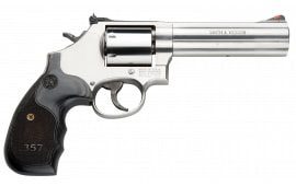 "Smith & Wesson 150854 686 Plus Magazine DA/SA .357 5"" 7 Wood Stainless Revolver"