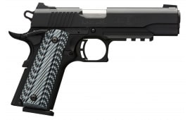 "Browning 051901492 1911-380 Black Label Pro with Rail SAO .380 ACP 4.25"" 8+1 3-Dot Black G-10 Grip Black"