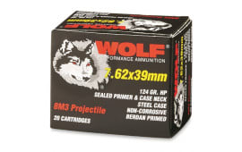 "Wolf Polyformance 124 Grain 8M3 "" Effect "" Hollow Point Steel Case - 1000rd Case"