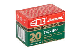 Barnaul 762X39 Soft Point, 125 Grain, 7.62x39, Non Corrosive, 500 Round Case - Soft Point Expansion Ammunition.