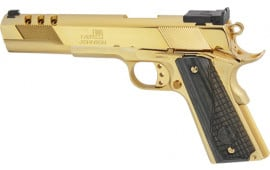"""Iver Johnson Arms GIJ38 Johnson Eagle XL Ported 6"""" 24K Gold Black Wood"""