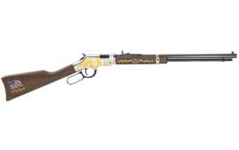 "Henry H004MS2 Golden Boy Military Service Tribute 2 Lever 22 Long Rifle 20"" 16 LR/21 Short Walnut Stock Blued Barrel/Nickel Receiver"