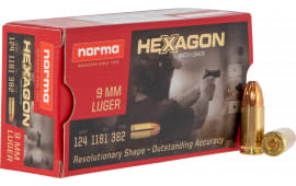 Norma 299140050 9mm 124 Hexagon - 50rd Box