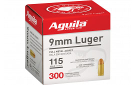 Aguila Case 1E097700 9mm Luger 115 GR Full Metal Jacket (FMJ) Non-Corrosive, Brass Cased - 1200 Round Case