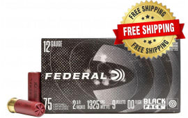 "Federal Black Pack 12GA 2 3/4"" 00 Buckshot 300 Round Case - Free Shipping"