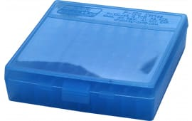 "MTM P1004524 P-100 Flip-Top Pistol Ammo Box 1.3"" OAL Blue Poly"