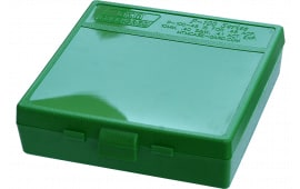 "MTM P100910 P-100 Flip-Top Pistol Ammo Box 1.22"" OAL Green Poly"