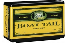 Speer Ammo 2472 Rifle Hunting 375 Caliber .375 270 GR Boat Tail Soft Point 50 Box