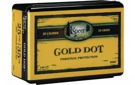 Speer 3985 Handgun 25 Caliber .251 35 GR Gold Dot Hollow Point 100 Box