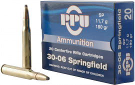 PPU PP30063 Standard Rifle 30-06 180 GR Soft Point - 20rd Box