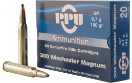 PPU PP3001 Standard Rifle 300 Winchester Magnum 150 GR Soft Point - 20rd Box