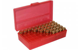 MTM P503829 Flip Top Handgun Ammo Box P-50 Series Red