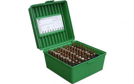 """MTM R10010 Rifle Ammo Deluxe R-100 2.65"""" Max OAL 100rd Polypropylene Green"""