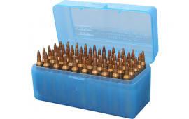 """MTM RLLD5024 Case-Gard R-50 50rd Rifle Ammo Box Lg 3.85"""" Max OAL Poly Blue"""