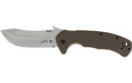 """Kershaw 6031 CQC Folder 3.5"""" 8Cr14MoV Stainless Steel Stonewash Spey G10 Black Front/410 Stainless Steel Back"""