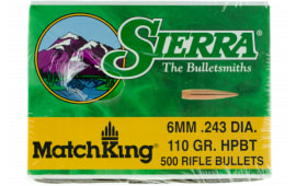 Sierra 1575C MatchKing 6mm .243 110 GR Hollow Point Boat Tail 500 Box