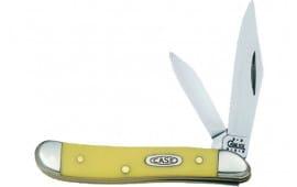 Case 00030 Peanut Folder Chrome Vanadium Clip/Pen Blade Yellow Synthetic Hndl