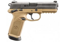 "FN 66100351 FNX 45 Tactical DA/SA .45 ACP 5.3"" TB 15+1 3 Mags NS Flat Dark Earth Interchangeable Backstrap Grip Black Stainless Steel"