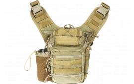 "Drago Gear 15303TN Ambidextrous Shoulder Pack Satchel 600D Polyester 11.5"" x 10"" x 8"" Tan"