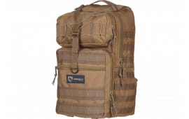 """Drago Gear 14308TN Atlus Sling Backpack Tactical 600D Polyester 19"""" x 11"""" x 10"""" Tan"""