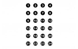 """VB24100 24 3"""" Numbered Circles (100 BOX)"""
