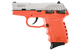 "SCCY CPX1TTOR CPX-1 Double 9mm 3.1"" 10+1 Orange Polymer Grip/Frame Grip Stainless Steel"