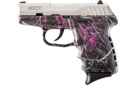 SCCY CPX2TTMG CPX-2 9mm Pistol, Natural Stainless Slide on Muddy Girl Camo, DAO 10+1 w/ 2 Mags