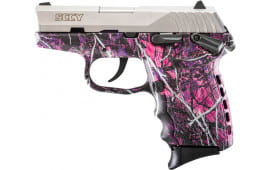 SCCY CPX1TTMG CPX-1 9mm Pistol, w/ Safety, Natural Stainless Slide on Muddy Girl Camo, DAO 10+1 w/ 2 Mags
