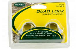 """Weaver Mounts 49056 Quad-Lock Rings Quad Lock High 1"""" Diameter Silver"""