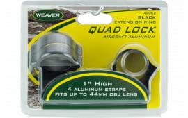 """Weaver Mounts 49062 Quad-Lock Ring Set 1"""" Diam High Extension Aluminum Black"""