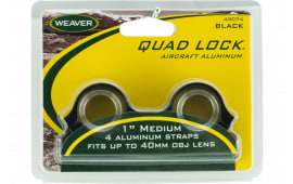 """Weaver Mounts 49074 Quad-Lock Rings Quad Lock Medium 1"""" Diameter Gloss Black"""