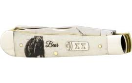 """Case 50439 Sportsman Trapper Folder 3.25""""/3.27"""" Steel Clip Point/Spey Bone"""