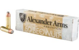 Alexander Arms 50 Beowulf 400 Grain Flat Point 20/Box - 20rd Box