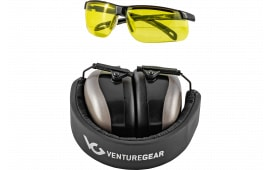 Pyramex VGCCOMB8630 Ever-Lite Range Kit Gray Earmuffs and Amber Lens Black Frame Glasses Earmuff/Shooting Glasses