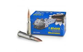Silver Bear 7.62x54r FMJ, 174 Grain, Non-Corrosive - 500 Round Case