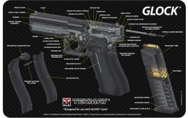 "Tekmat R17GLOCKCA Glock 3D Cutaway Cleaning Mat Glock Parts Diagram 17"" x 11"" Black/White"