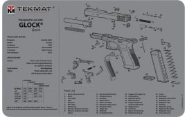 """Tekmat R17GLOCKG4GY Glock Gen 4 Cleaning Mat Glock Gen 4 Breakdown 17"""" x 11"""" Grey"""