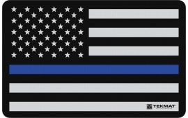"Tekmat R17POLICE Police Support Cleaning Mat Blue Line Flag 17"" x 11"" Black/Grey/Blue"