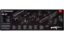 """Tekmat R44AK47 AK-47 Ultra Premium Cleaning Mat AK-47 Parts Diagram 44"""" x 15"""" Black/White"""