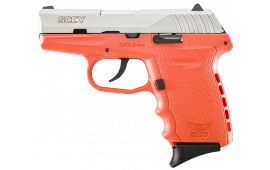 """SCCY CPX2TTOR CPX-2 Double 9mm 3.1"""" 10+1 Orange Polymer Grip/Frame Grip Stainless Steel"""