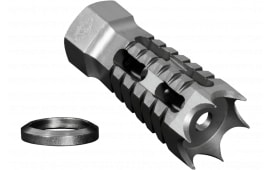 "Yankee Hill Machine 27-MB-A Annihilator Muzzle Brake 5.56mm Threaded 1/2""-28 TPI Steel Silver"
