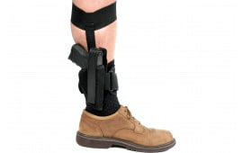 """Blackhawk 40AH00BKL Ankle Holster Left Hand Sz 0 2"""" Barrel Sm Frame 5-Rd Revolver w/Hammer Spur 1000 Denier Cordura Nylon Black"""
