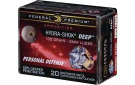 Federal P9HSD1 9mm 135 HSHK HP - 20rd Box
