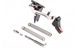 ZEV FULADJULT4G9 Adjustable Fulcrum Ultimate Trigger compatible with Glock 17/19/26/34 Gen 4 6061-T6 Aluminum/Stainless Steel Black/Red