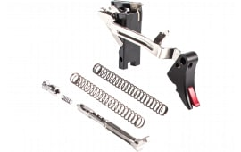 ZEV FULADJULT9BR Adjustable Fulcrum Ultimate Trigger compatible with Glock 17/17L/19/19C/26/34 Gen1-3 6061-T6 Aluminum/Stainless Steel Black/Red